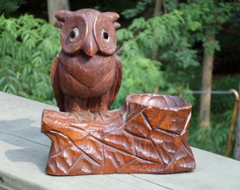 antique Black Forest carved OWL on tree with Glass Eyes pipe rest trinket ring jewelry holder