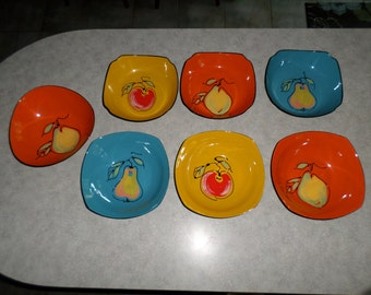 7pc colorful fruit Lacquer Ware by Davar bowl dish set original stickers pear apple 1965