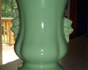 McCoy Pottery leaves & berries handle VASE  chartreuse lime green glaze