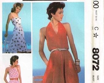 Pleated Halter Neckline Strapless Dress Drawstring Neckline Sundress Vintage 1980s McCalls 8072 Misses Size 12 Bust 34