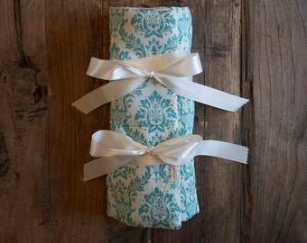 Teal and Ivory Damask Print 6pc or 12pc Jewelry Travel Roll Necklace Organizer