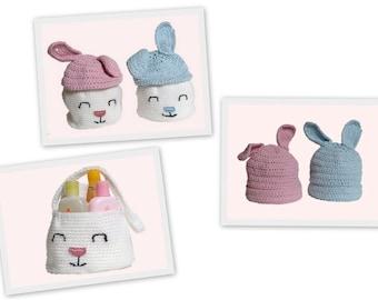 Baby Cotton Hat, Baby Bunny Hat, Crochet Basket, Boy, Girl