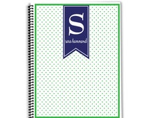 Personalized  Monogrammed Planner- Preppy Polka Dots - Spiral Notebook