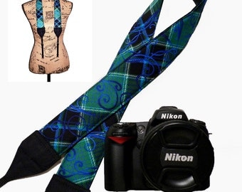 Nikon Padded SLR Neck Strap Canon Dslr Camera Strap Green Blue Black Plaid (RTS)