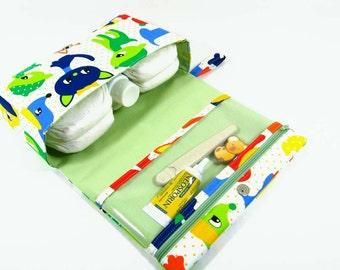 Baby bag, puppy print diaper clutch, small diaper bag, diaper purse with clear zipper pouch