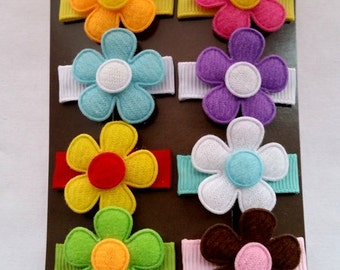 Baby Snap Clip-Infant Snap Clip-Itty Bitty Flower Clip-Set of 8