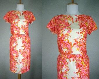 Vintage 1960s Dress Pink Orange Yellow White Floral Silk IMAGNIN Dress
