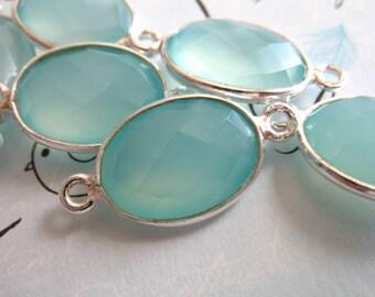 Shop Sale... 2 5 10 pc, CHALCEDONY Gemstone Connectors Links, Bezel Set, 21.5x11.5 mm, 24k Gold Vermeil or Sterling Silver,  gc gcl20