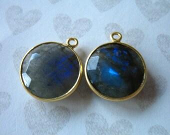 Shop Sale..  1 2 5 10 pcs, Gemstone Pendants Charms, Bezel Stone, Vermeil or Sterling Silver, 20x16 mm, Round Pendant gcp9 wf