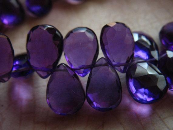 Shop Sale.. 4 8 12 pcs, PURPLE AMETHYST Quartz Pear Briolettes Beads, 9.5-10 mm, Royal Purple, faceted, february birthstone hydqtz64 911