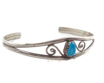 Vintage Bracelet, Turquoise Cuff, Sterling Silver, Cuff Bracelet, 1970s, Sterling Bracelet, Boho Jewelry, Vintage Bracelet, Country Western