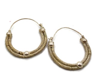 Hoop Earrings, Big Huge, Vintage Earrings, Silver, Boho Statement, Gypsy, Bohemian, Large, Ethnic Tribal, Hippie, Middle Eastern