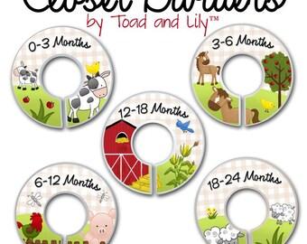 CLOSET DIVIDERS Farm Animals Bedroom Baby Nursery Art Decor CD0036