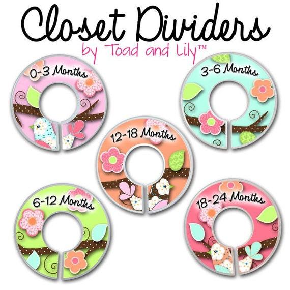 CLOSET DIVIDERS Love Birds Girls Bedroom and Baby Nursery Art Decor
