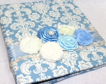 GUEST Book, Photo Spot, Wedding Guest Book,  Advice Book, French Blue & Ivory, Damask, Ivory Lace, Pearls,  Custom Colors