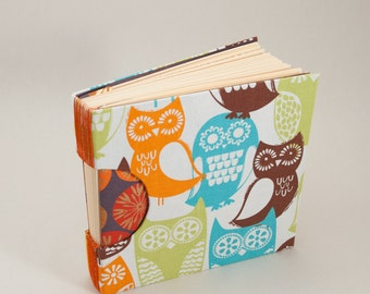 Blank Journal Notebook Guestbook or Sketchbook with Orange Green Turquoise and Brown Owls