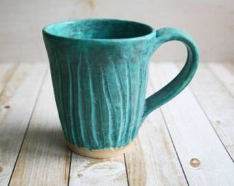 Turquoise Ceramic Mug Hand Carved Stoneware Pottery Coffee Cup Rustic Design Ready to Ship Made in USA