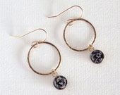 Circle Earrings with Black Paper Beads / Paper Jewelry / Gifts for Her / First Anniversary Gift / Sterling Silver or 14k Gold Filled