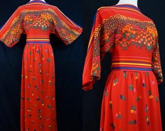 1960s Rainbow Tulip Print Dress Maxi Red Striped Novelty Print Dolman Sleeve Small Medium