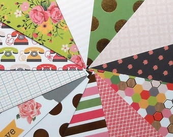 DESTASH - DCWV Hello Darling: Telephone - Pack of 12 Different Scrapbook Papers, 6 inch X 6 inch