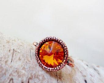 Orange crystal ring.  Orange ring. Fire opal ring. Copper ring. Copper jewelry. Fire opal crystal ring. Rivoli ring.