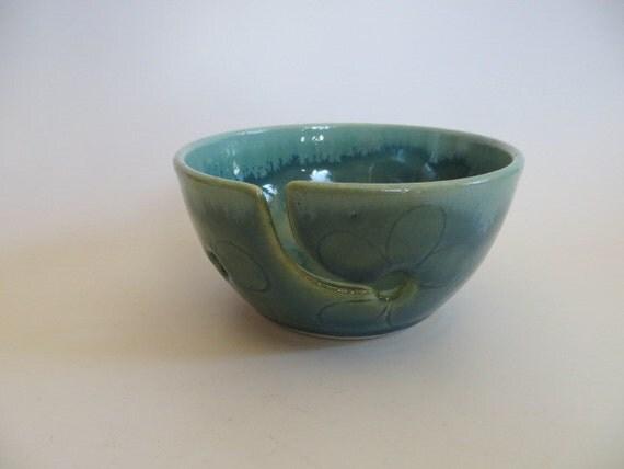 Ceramic Yarn Bowl, Knitting Bowl, Crocheting Bowl, Gift for Knitters, Green and Chartreuse, Handmade Ceramic Pottery, Yarn Bowl No.13
