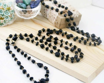 """Night tinkle long necklace 60"""" - glass beads"""