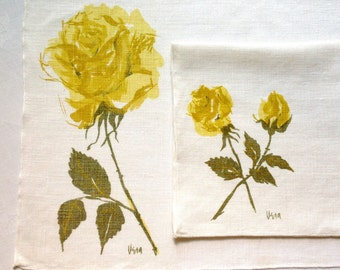 Vera Yellow Rose Linen Placemats Napkins Set of 4 Each