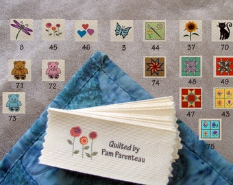 "Personalized Quilting Labels-Large size-1.5"" x 3.5""-16 Designs to Choose From"
