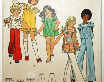 Vintage 1970s, Sewing Pattern, Butterick 3077, Girls' Dress, Top and Pants,  Girls' Size 6, UNCUT