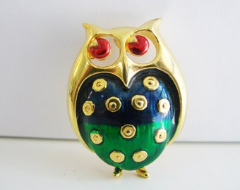 Vintage gold owl brooch with red, green and blue enamel (G8)