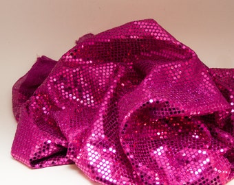 Fabric Large Hot Fuchsia Pink Confetti Dot Sequin Fabric 1 Yard