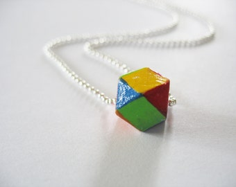Rainbow Cube Necklace Wooden Geometric Cube Silver Ball Chain Hand Painted