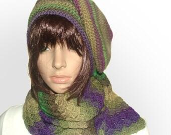 Rainbow Beanie & Scarf Set Crochet Slouchy Hat, Scarf Set
