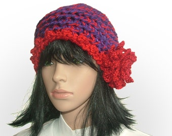 Purple Red Chunky Crochet Beanie Hat with red crochet flower