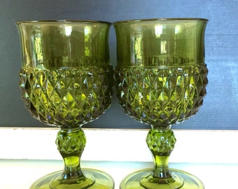 green cut glass water goblets glassware olive green glasses diamond pattern green glasses