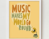 "Music Art Typography Wall Decor, Typographic Illustration Poster ""Music Makes My World Go Round"" Phonograph Illustration  Music  Quote"