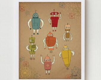 """Robots Print Art, Children Wall Art Decor, Kid's Robots Poster, Robots Illustration, Children's Room Wall Decor for Kids """"Little Robots"""""""