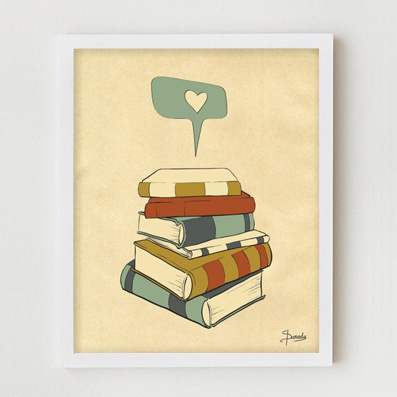 "Reading Print Art ""I READ"" Digital Illustration, Books Love Poster, Books Illustration Drawing Art, Library Print, Reading Books Print"