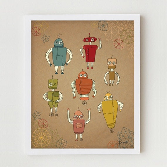 "Robots Print Art, Children Wall Art Decor, Kid's Robots Poster, Robots Illustration, Children's Room Wall Decor for Kids ""Little Robots"""