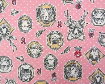 2625A -- Animals Portrait Fabric in Pink, Animal Fabric, Cat, Rabbit, Deer, Bear, Bird, Polka Dots