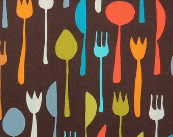 2627B -- Table Cutlery Fabric in Brown , Fork Knife Spoon Fabric