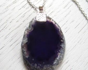 SALE - Dark Purple Agate Slice Pendant Necklace