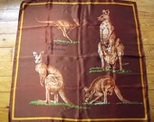 TIE ME KANGAROO...Souvenir Australia Handrolled Scarf Kangaroo 27 in. square