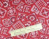 Red Bandana fabric, western print, western apparel, cotton, 1/2 YARD, red, white, black