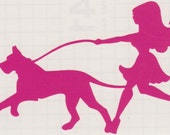 Great Dane and Pin Up Silhouette, Hot Pink Vinyl Decal
