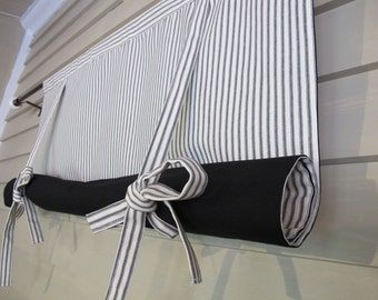 Black and White 48 Inch Long Cotton Ticking Swedish Roll Up Shade Stage Coach Blind Tie Up Curtain Swag Balloon