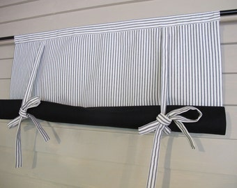 Black and White 60 Inch Long Cotton Ticking Swedish Roll Up Shade Stage Coach Blind Tie Up Curtain Swag Balloon