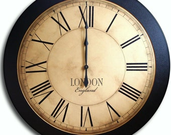 Large Wall Clock 36in Antique Style Wall Art WHITING Distressed Family Heirloom FREE INSCRIPTION