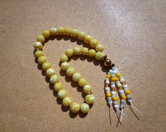 Tasbih Prayer Beads, Yellow and White Marbled Glass Beads with Beaded Tassel, 33 Bead Tasbih, Muslim Prayer Beads, Muslim Gifts